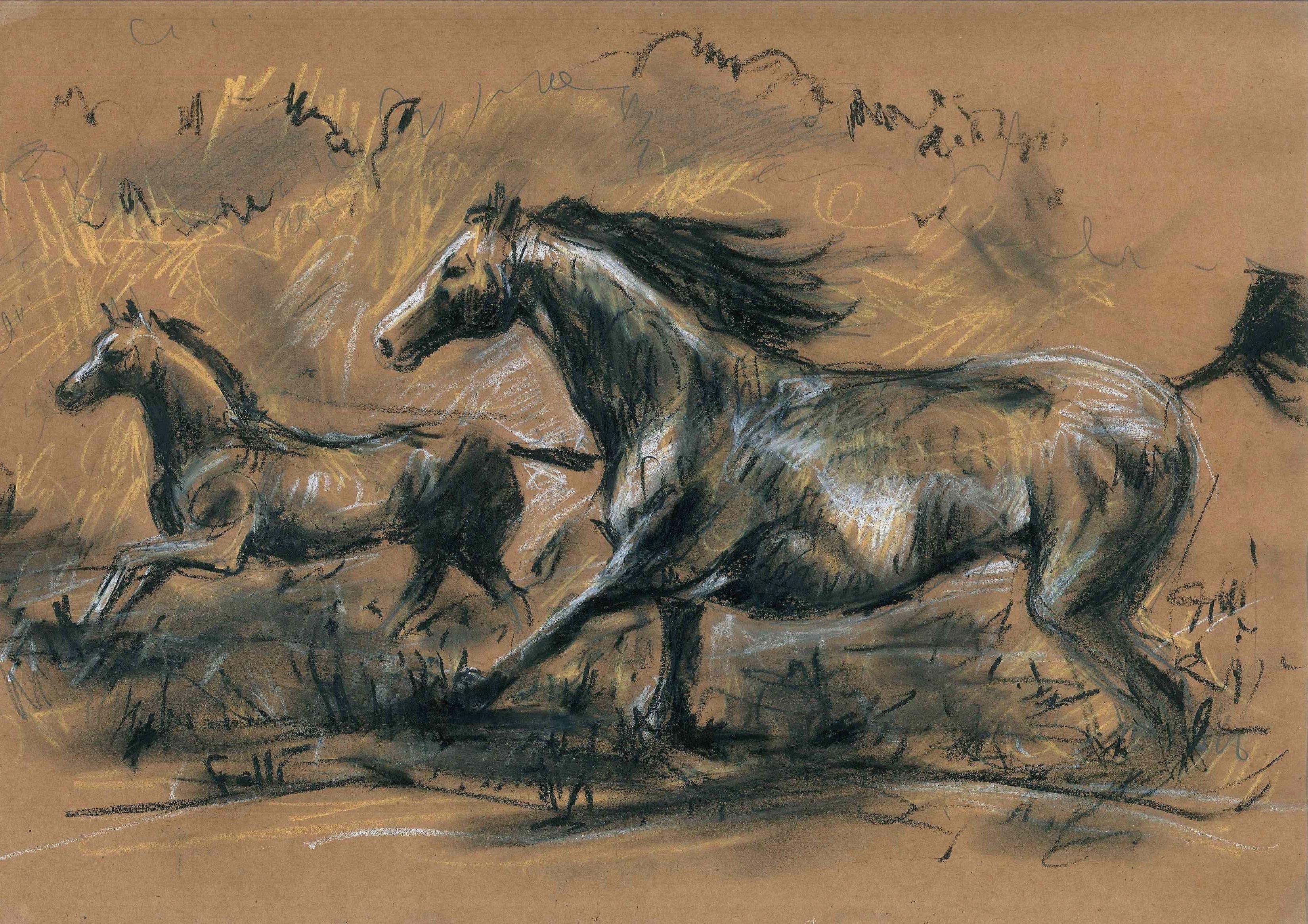 En familia -  Lápices sobre papel madera. 43 x 30 cm - Alejandro Felli