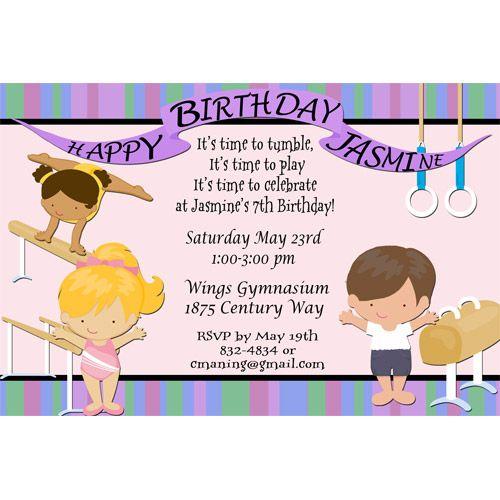 Gymnastics birthday party invitations gymnastics team birthday gymnastics birthday party invitations gymnastics team birthday party invitation stopboris Images