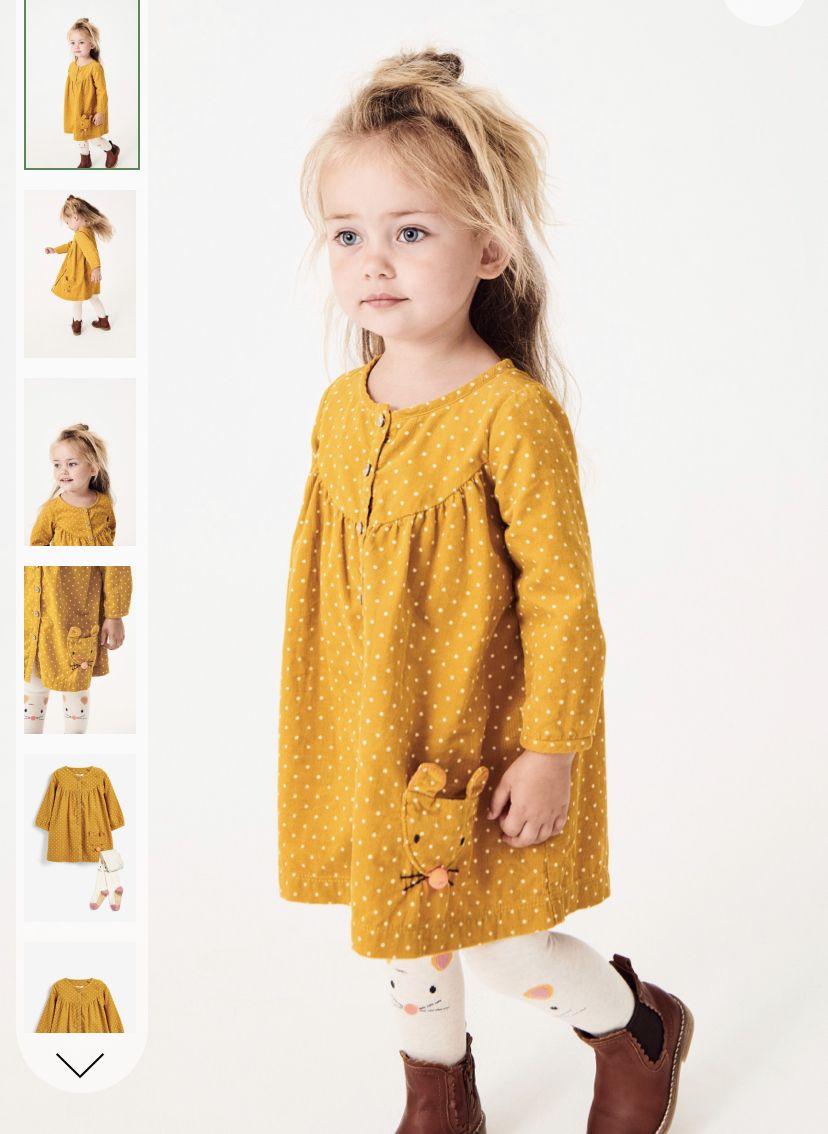 Girls Next Ochre Embroidered Button Through Dress Set
