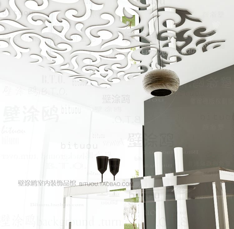 Silver Square Reflective Mirror Stickers for Living Room Bedroom Ceiling