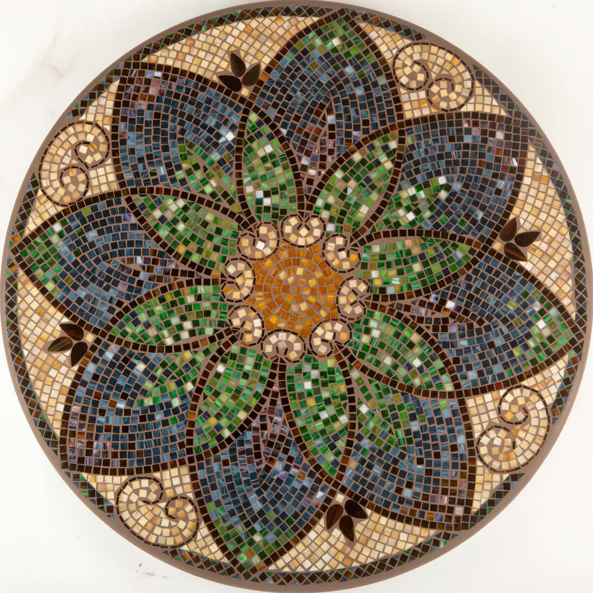 This mosaic is best displayed in an easel as a table top for Mosaic landscape design