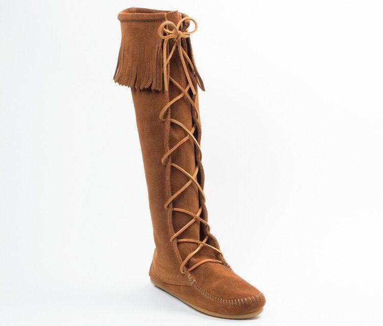 Minnetonka Front Lace Knee Hi Boot Women 1422 Brown