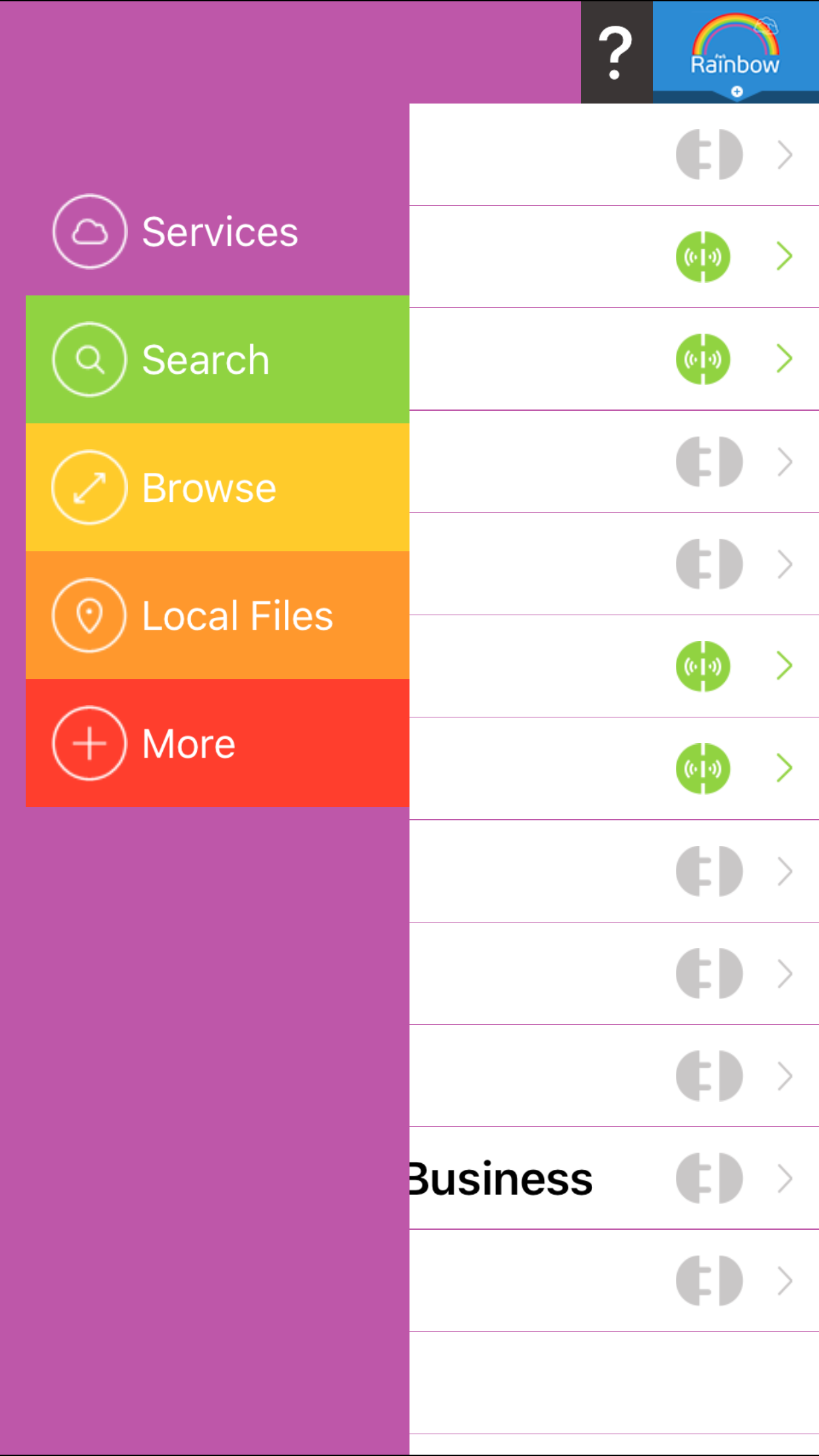 Rainbow iOS v 3.0 main screen Rainbow, App, Cloud storage