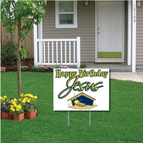 Happy Birthday Jesus White Christmas Lawn Display Yard Sign Decoration By Victorystore Christmas Lawn Decorations Happy Birthday Jesus Christmas Display