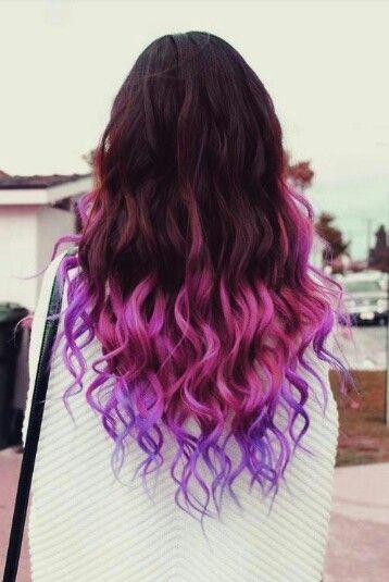 Pink Purple Brown Dip Dye Hair Colour Long Curly Hair Style Hair Styles Dip Dye Hair Purple Ombre Hair