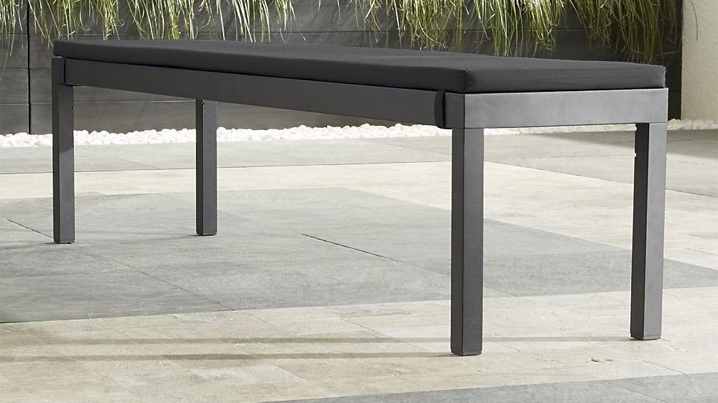 Superb Alfresco Grey Dining Bench With Sunbrella ® Cushion   Crate And Barrel