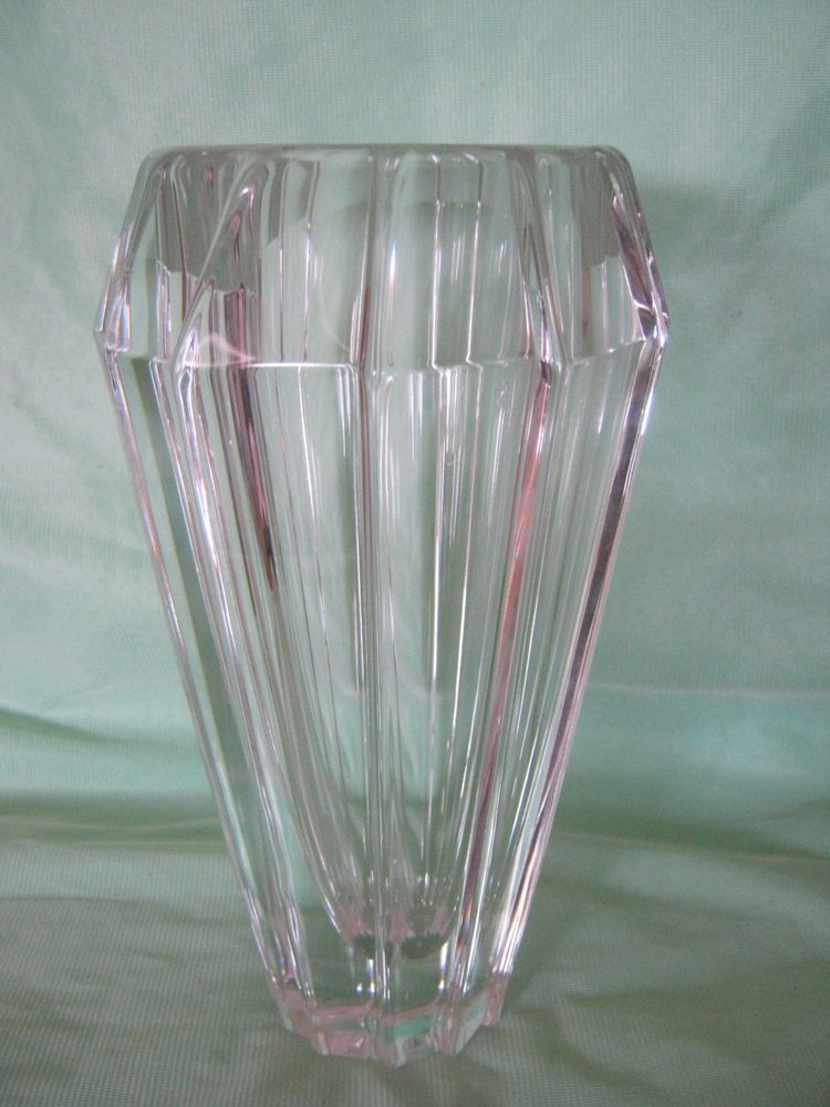 Orrefors Sweden Crystal Vase Original Sticker Etched Signed Mint