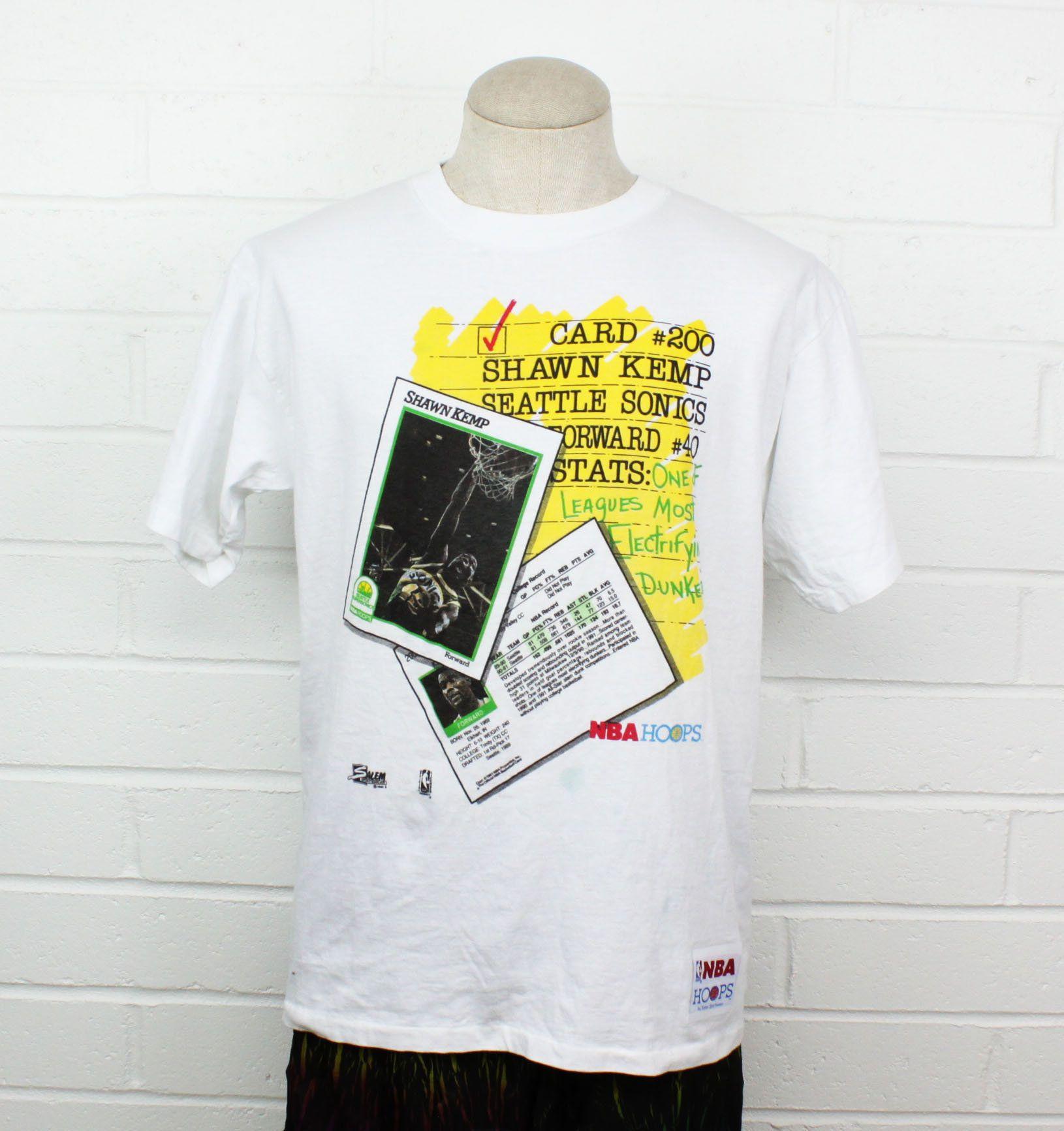 Vintage 90s Seattle Sonics Shawn Kemp Shirt White Large