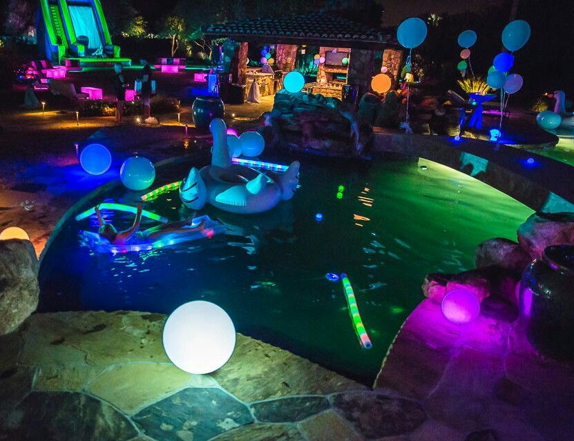 Glow In The Dark Pool Party Night Pool Party Neon Pool Parties Pool Party Decorations