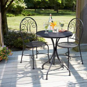 Black Wrought Iron Table And Chair Sets Pc Outdoor Wrought