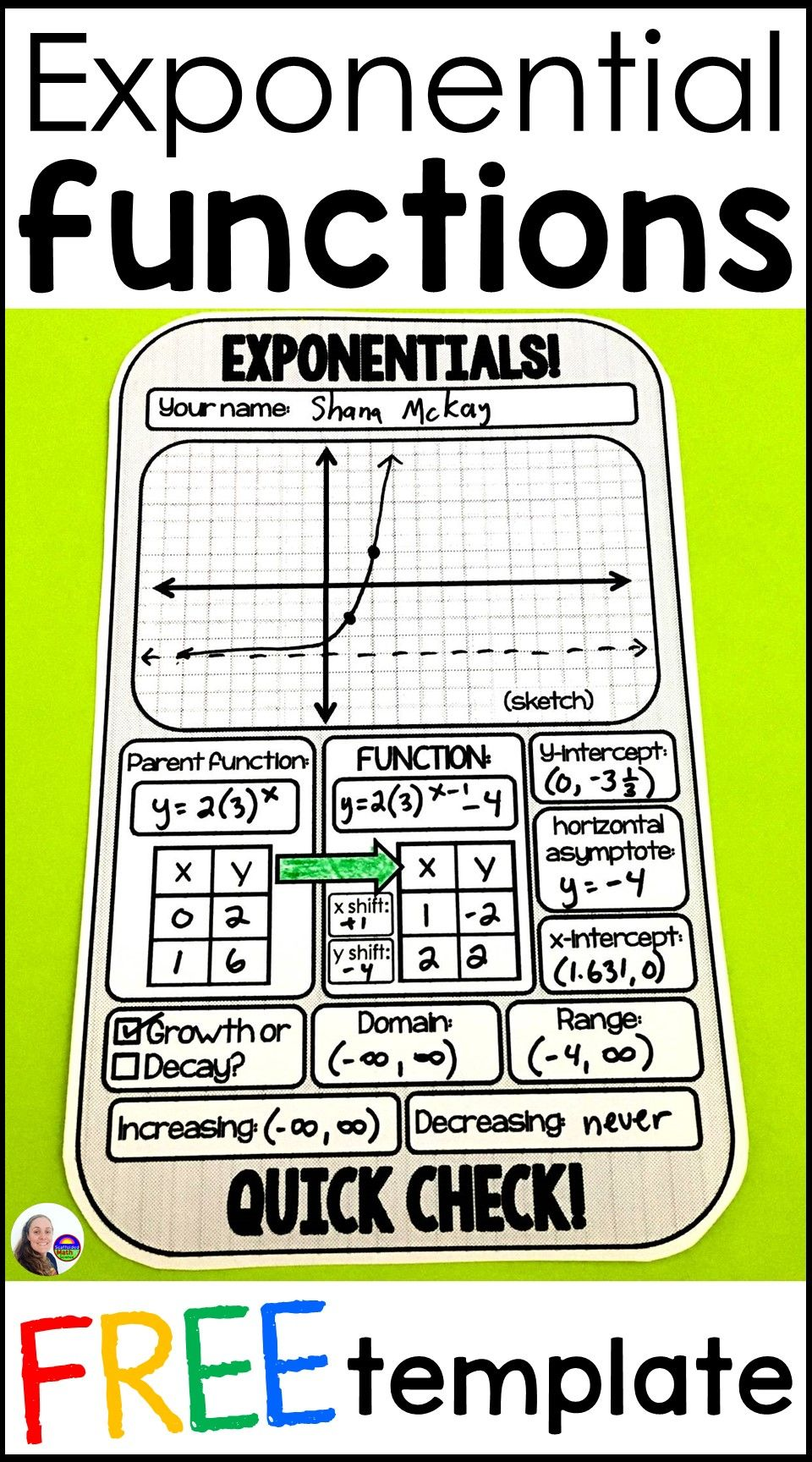 Exponential functions quick check and warmup template in