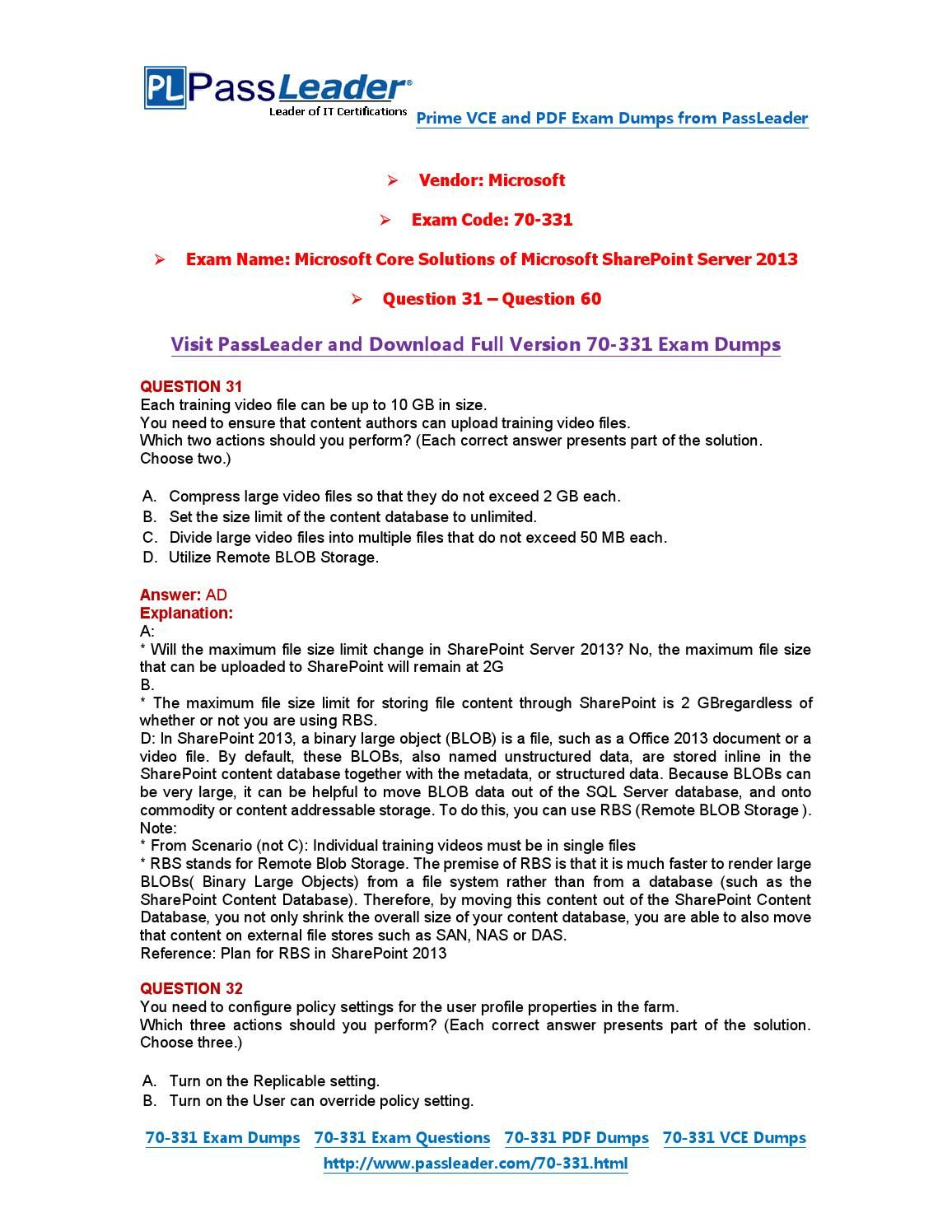 70-331 Exam Dumps with PDF and VCE Download (31-60) | 70-331
