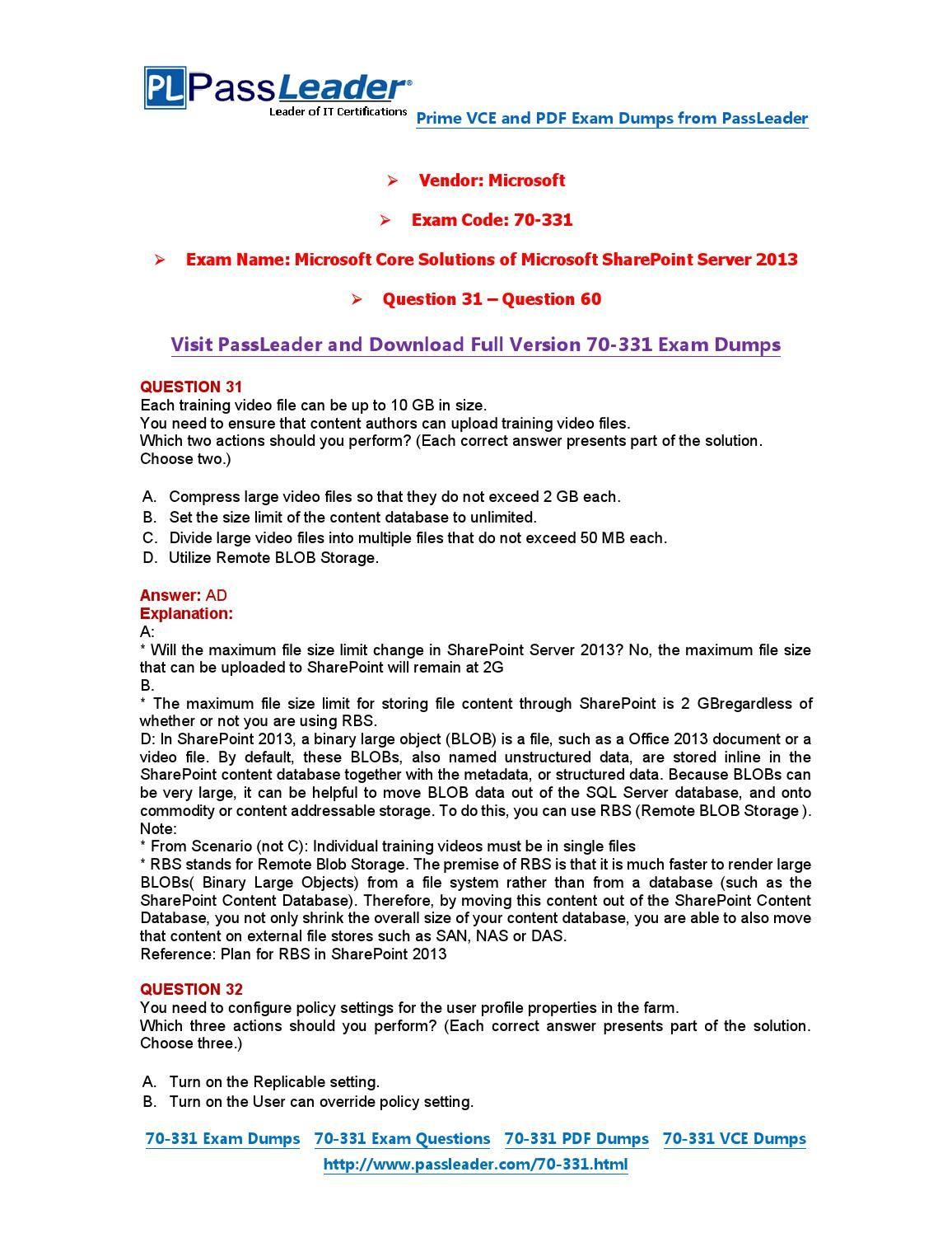 70 331 exam dumps with pdf and vce download 31 60 70 331 exam 70 331 exam dumps with pdf and vce download 31 60 xflitez Choice Image