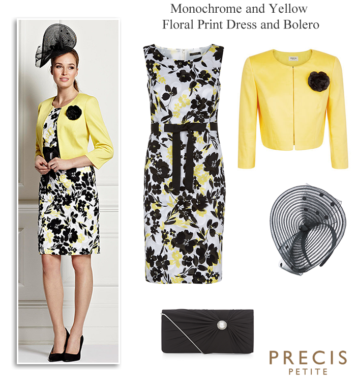 Precis Petite black and yellow printed shift dress and matching ...