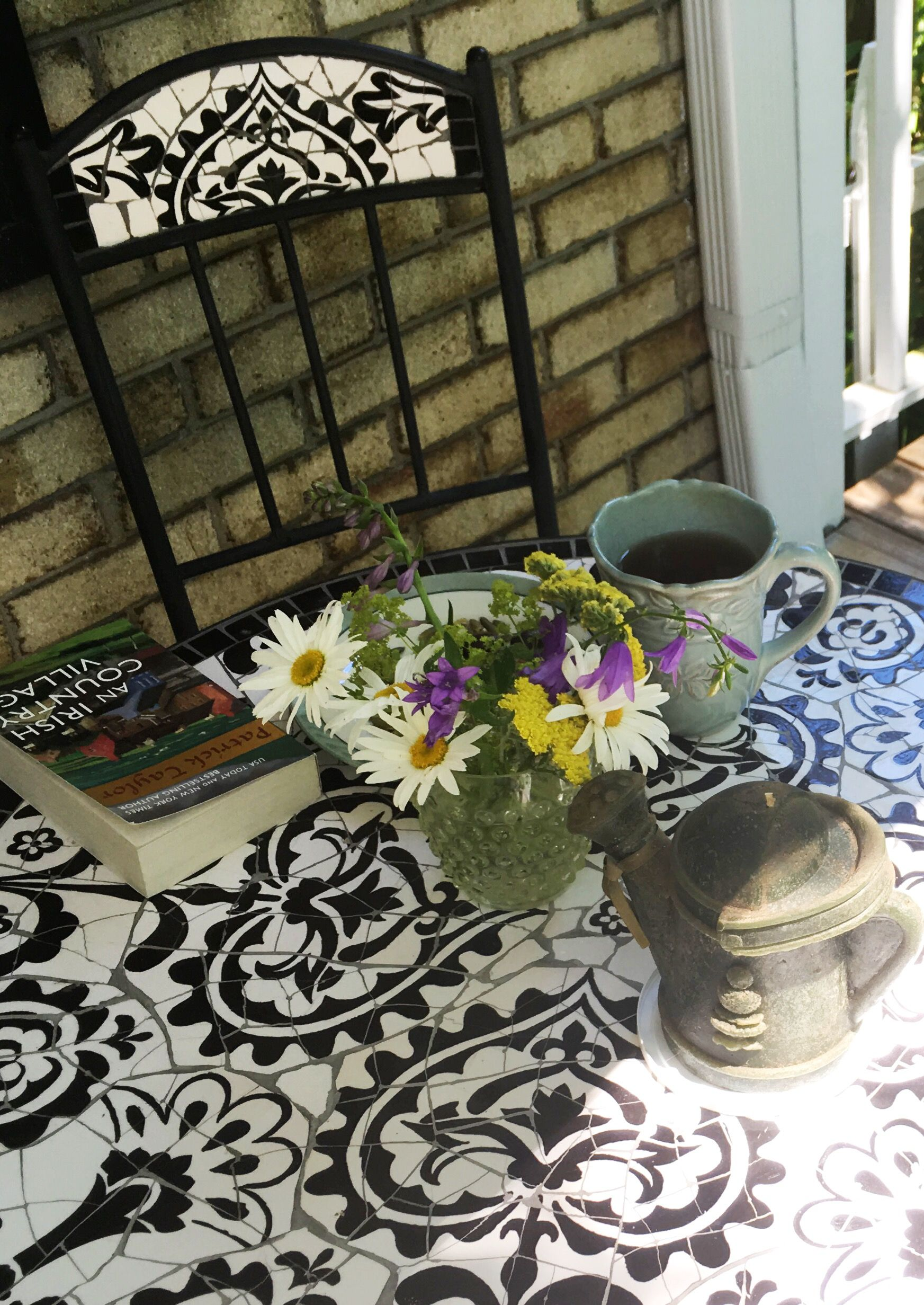 Tea and a book at the Front Porch Cafe