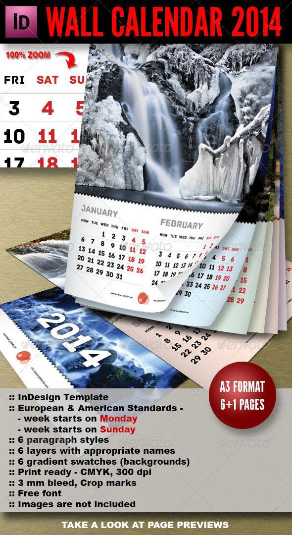 Wall Calendar 2014 7 Pages A3 Calendar 2014 Indesign Templates