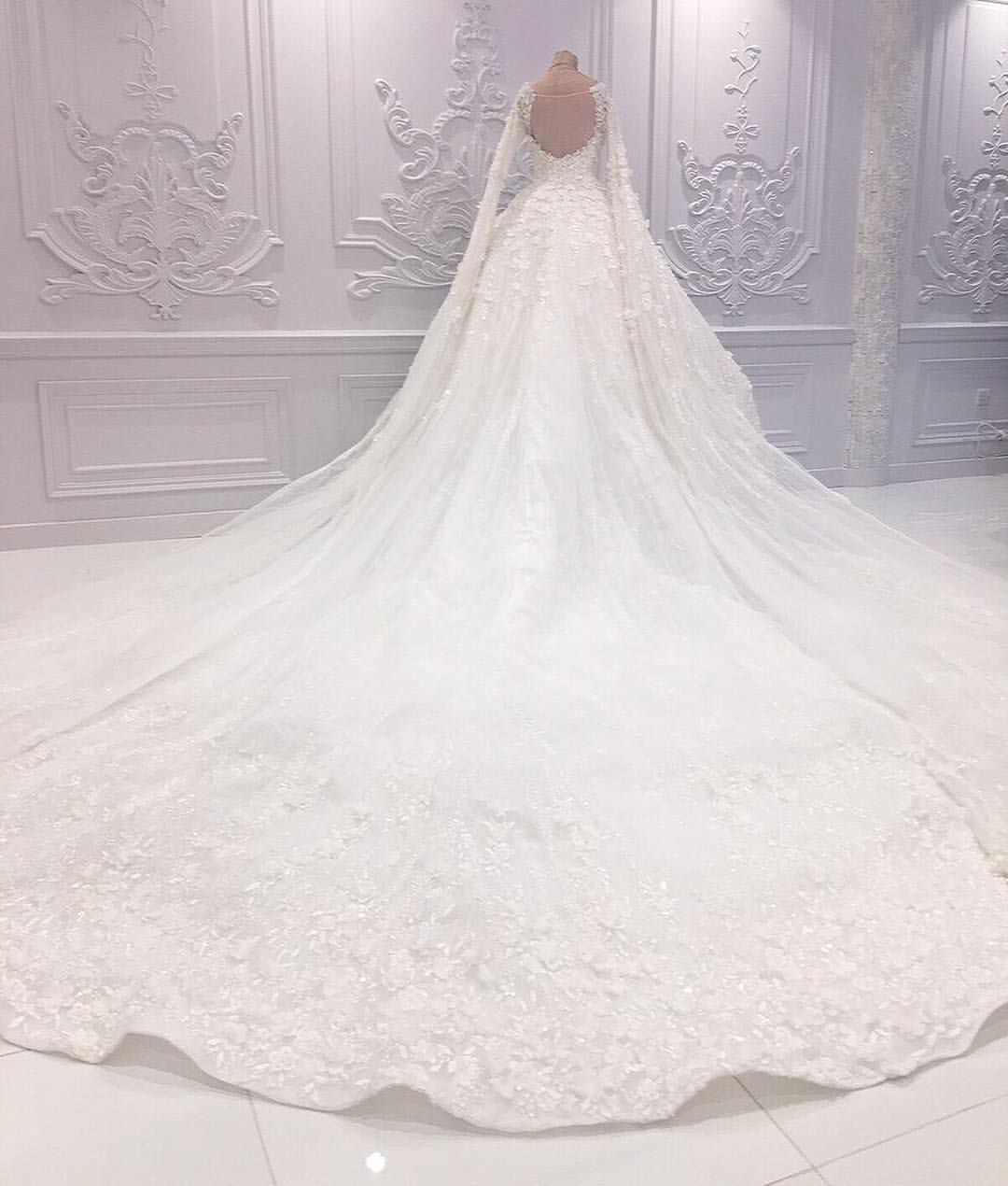 Spectacular Wedding Gown With A Never Ending Floor Sweeping Sleeves