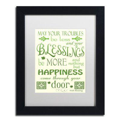 "Trademark Art 'Irish Blessing' by Jennifer Nilsson Framed Textual Art Size: 14"" H x 11"" W x 0.5"" D, Matte Color: Black"