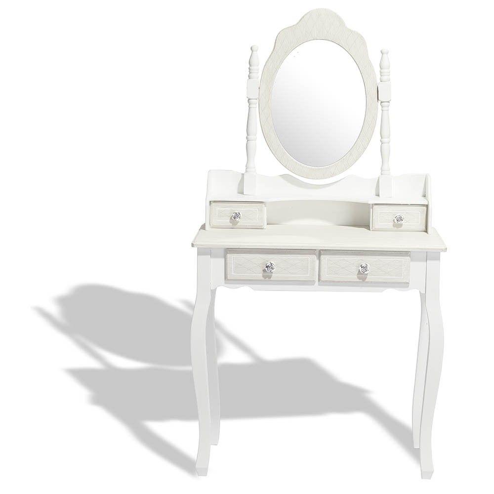 Coiffeuse Hortense blanche 4 tiroirs et 1 miroir - Commode et meuble de  rangement - Chambre 54d2439ae70e