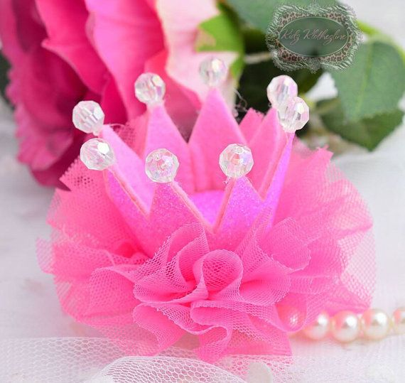 Hot Pink Fuschia Glitter Crown Tiara Tulle Clip Birthday Crown 1st Birthday Clip Dog Clip #crowntiara