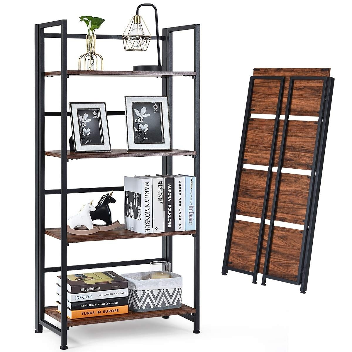 4 Tier Folding Bookshelf Foldable Portable Metal Storage 75 95 Free Shipping This Is The Foldable 4 Tier Bookshelf Metal Storage Shelves Bookshelves Shelves
