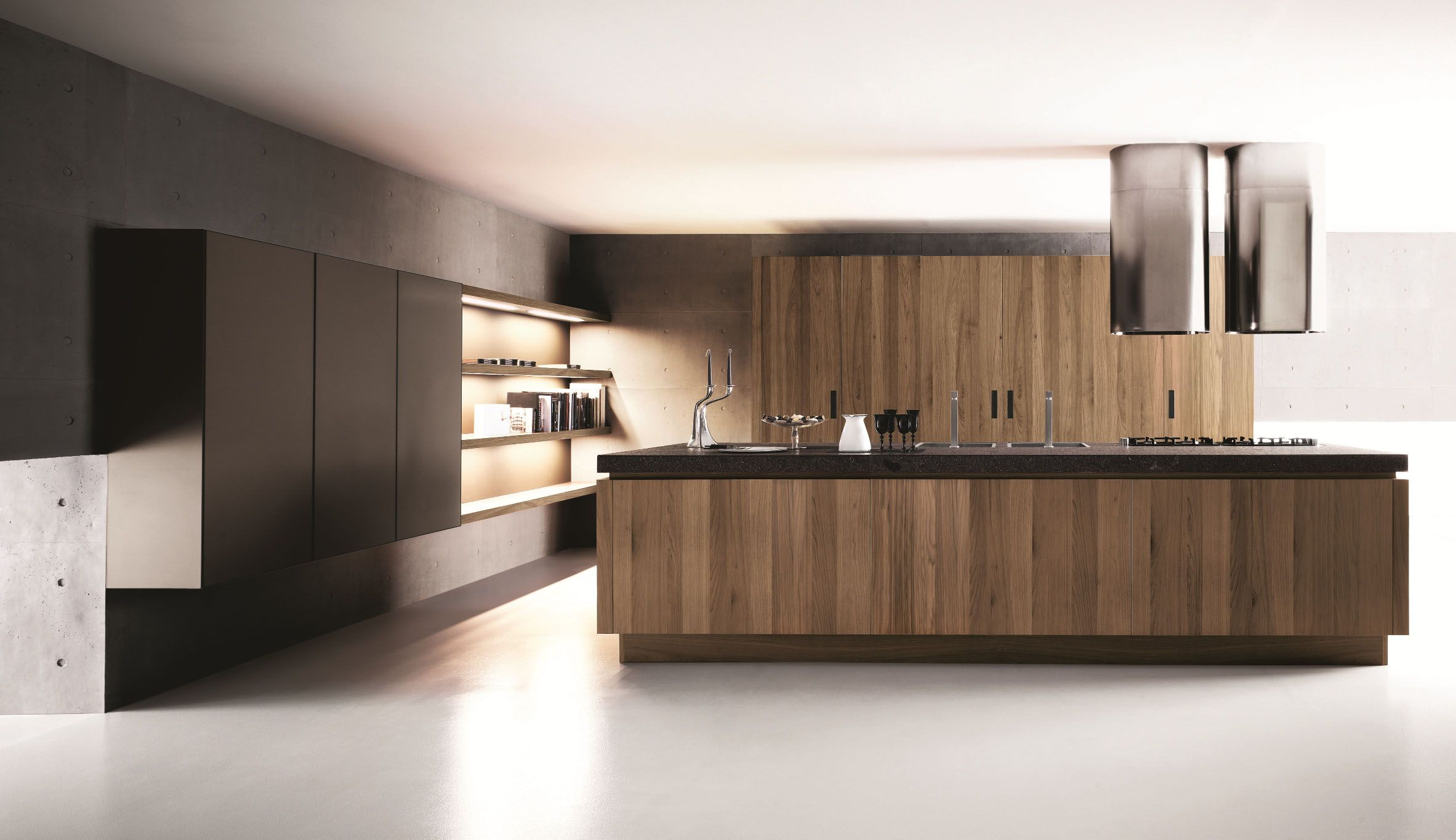 Nice Contemporary Open Kitchen With Walnut Kitchen Cabinets And
