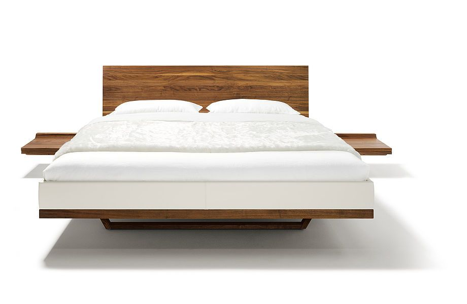 solid wood bed riletto in walnut with