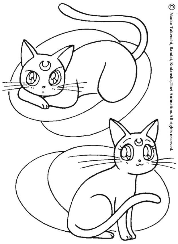 Cats: Artemis and diana coloring page. More Sailor Moon coloring ...
