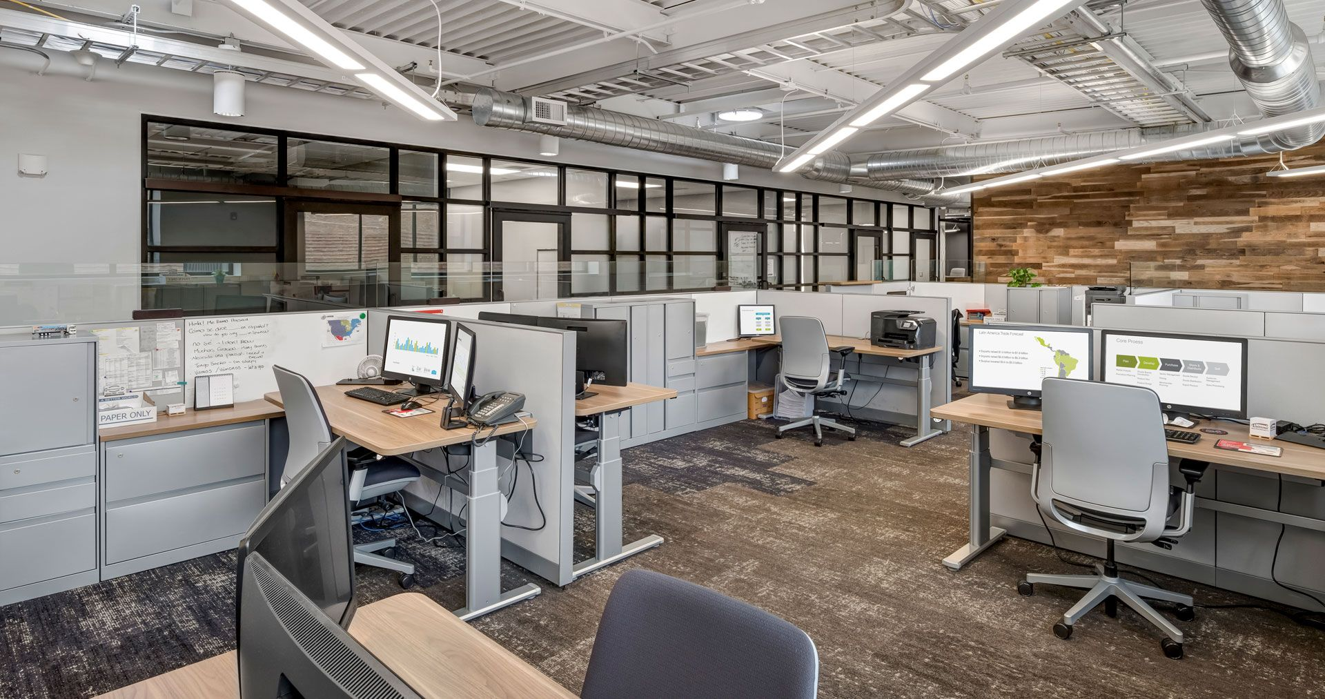 Height adjustable desks in the open work environment