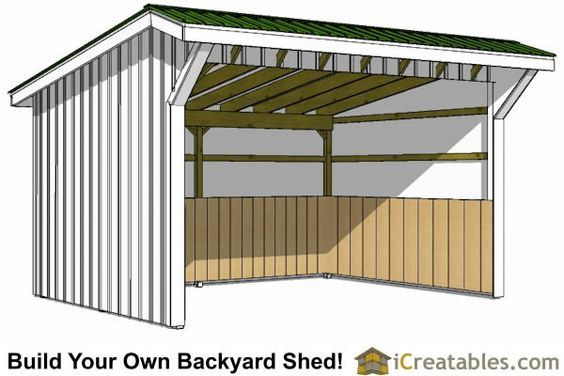 12x16 run in shed plans shed pinterest horse horse for Lean to shelter plans