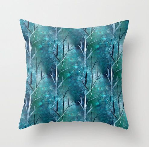 Abstract Pillow Cover in Teal Green Navy Blue by HLBhomedesigns, $35.00