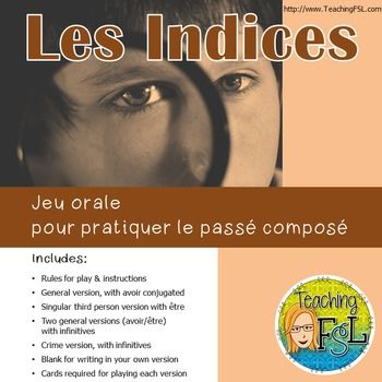 Les Indices Clue Style Oral French Passe Compose Game Group