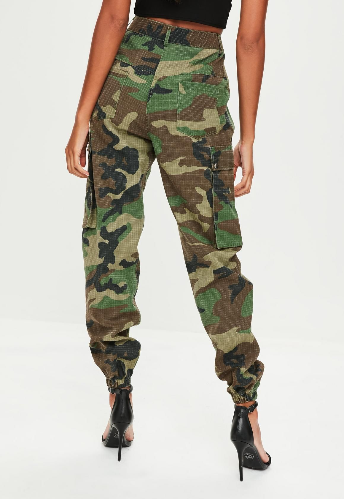 ca3cd09789 Missguided - Premium Khaki Camo Printed Cargo Trousers | Style ...
