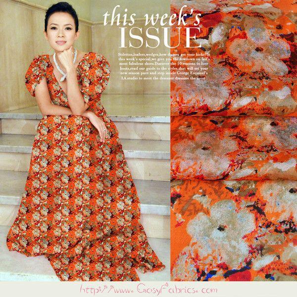 Stoff Blumen - Seidenchiffon stoffe mit Blumen Muster in Orange ...