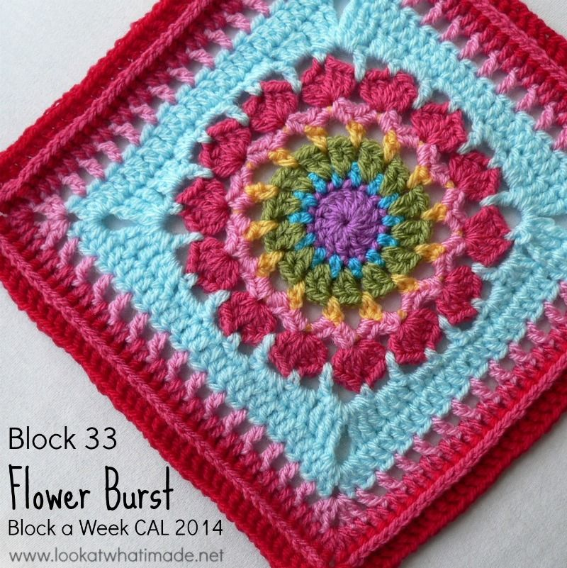 Block 33: Flower Burst Square {Photo Tutorial...ish} Block 33 of the Block a Week CAL 2014 is Chris Simon's Flower Burst Square. Photo tutorial done with kind permission. http://www.lookatwhatimade.net/crafts/yarn/crochet/block-a-week-cal-2014/block-33-flower-burst-square-photo-tutorial-ish/?utm_campaign=coschedule&utm_source=pinterest&utm_medium=Look%20At%20What%20I%20Made%20(Crochet%20Away)&utm_content=Block%2033%3A%20%20Flower%20Burst%20Square%20%20%7BPhoto%20Tutorial...ish%7D