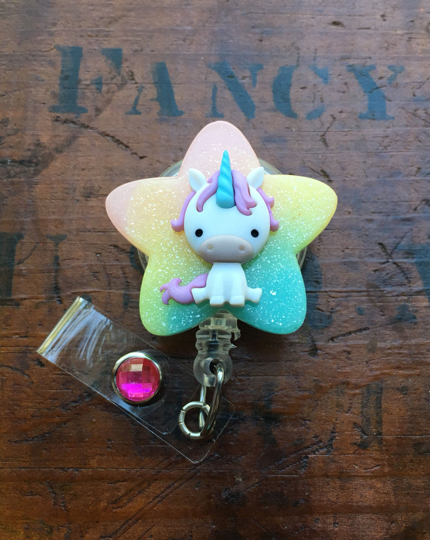 Baby unicorn and rainbow id badge rn retractable reel