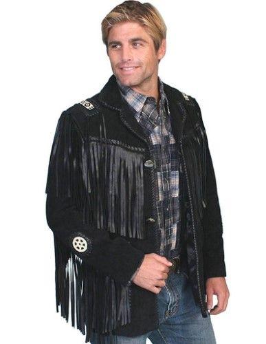 808af78c9e2 Scully Western Coat Mens Leather Button Fringe Bead 46 Reg Onyx 758 ...
