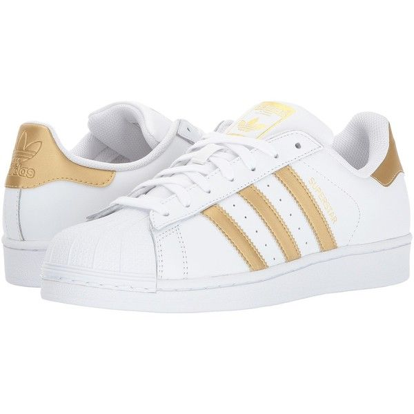 premium selection c9cab 379b7 adidas Originals Superstar (White Gold) Women s Tennis Shoes ( 67) ❤ liked  on Polyvore featuring shoes, grip shoes, rubber toe shoes, tennis shoes, ...