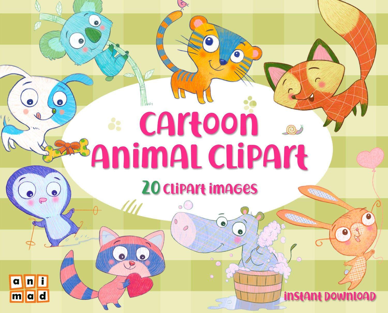 Cartoon Animal Clip Art Instant Download Funny Animal Etsy Animal Clipart Cartoon Baby Animals Cartoon Animals