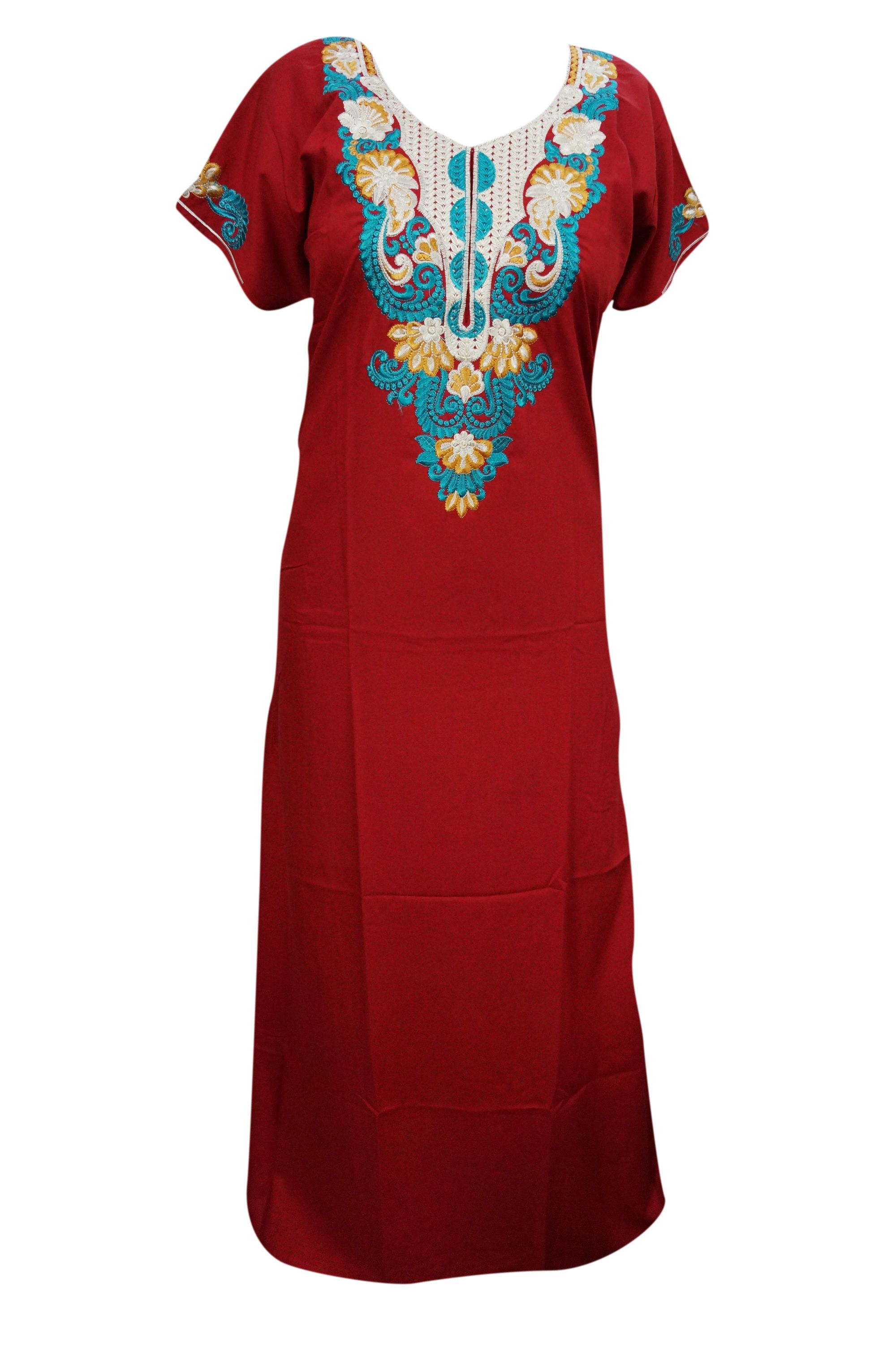 Mogul womens caftan nightdress red embroidered kaftan maxi lounger