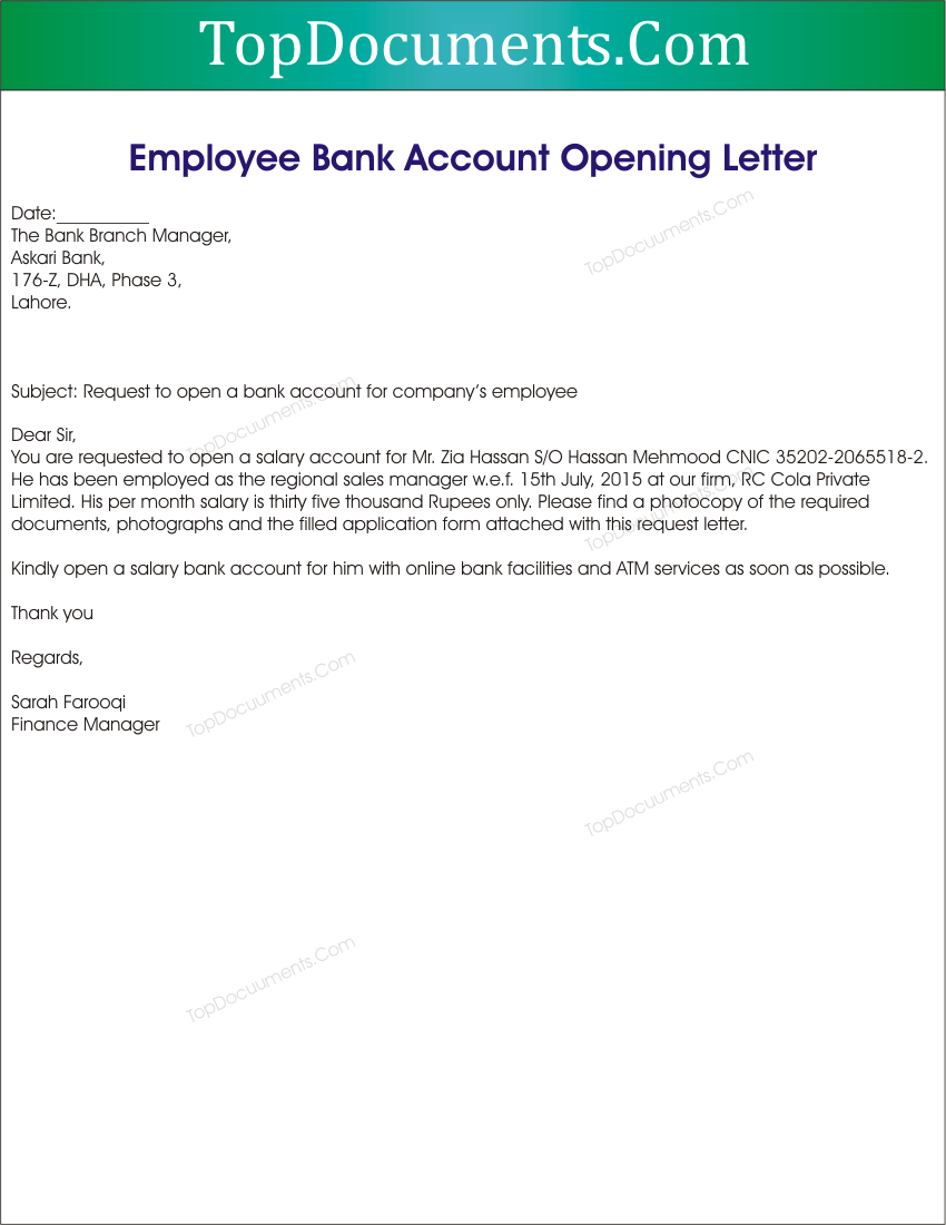 Application Letter For New Bank Account - Sample letter format to