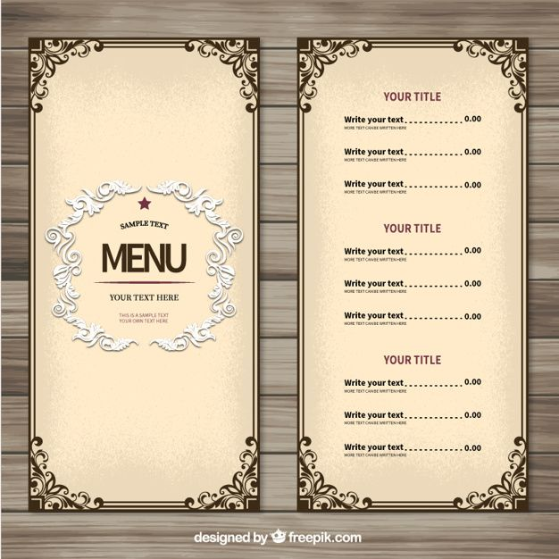 Download Ornamental Menu Template For Free Free Menu Templates Menu Template Restaurant Menu Design