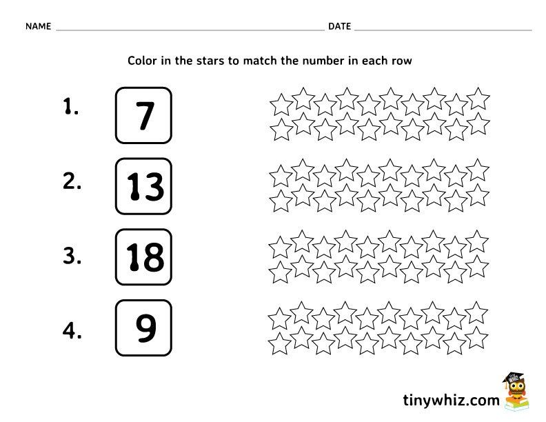 Free Math Worksheet Color In The Stars | Free Printable School ...