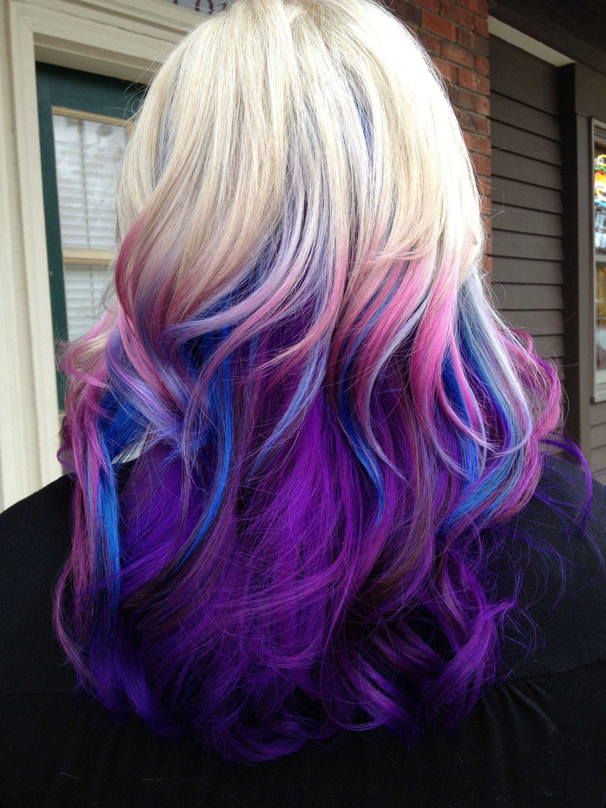 Crazy Color Ombre Pink Blue Lavender Indigo And Blonde