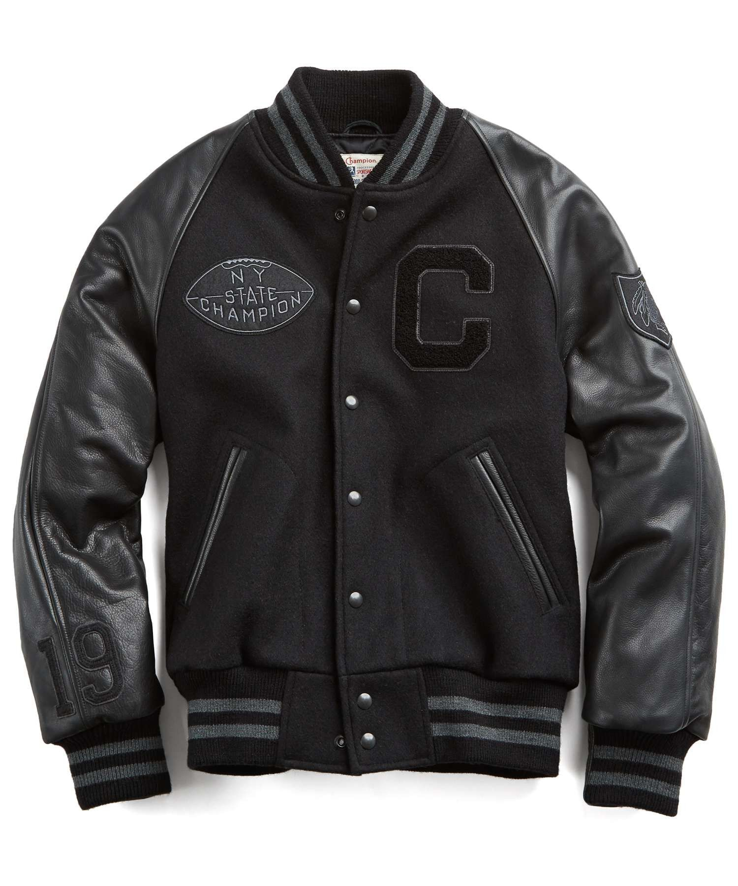 Old school cool varsity jacket. Wool body with leather