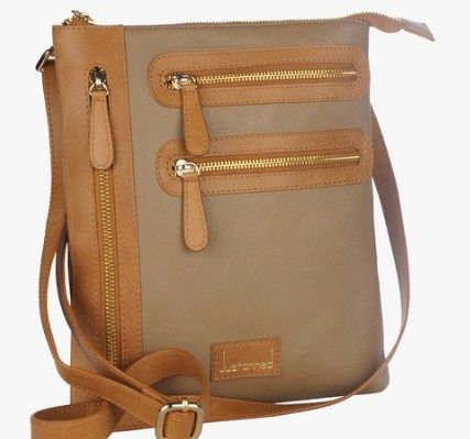 Justanned Beige Leather Sling Bag @ Rs 1440 Jabong | Freekabalance ...
