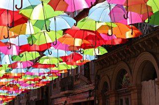 Magic floating umbrellas brighten up the commute in Getafe