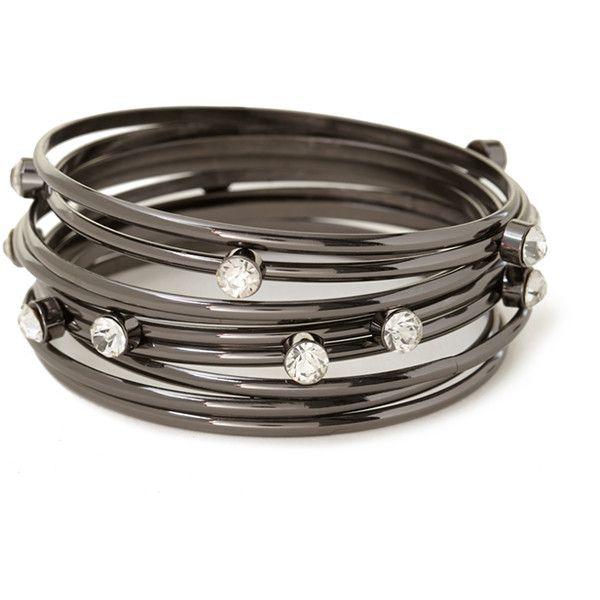Forever 21 Rhinestoned Bangle Set ($4.99) ❤ liked on Polyvore featuring jewelry, bracelets, bangle bracelet, rhinestone jewelry, sparkle jewelry, hinged bangle and forever 21 bangle