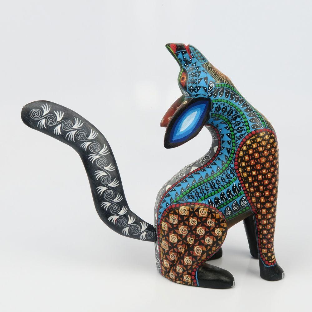 Howling wolf oaxacan alebrije wood carving mexican folk