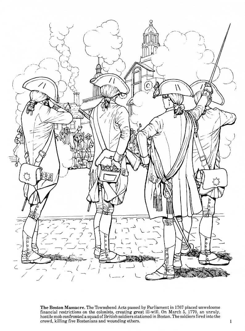 The boston massacre revolutionary war coloring pages
